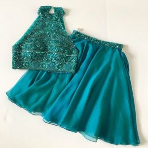 Teal Sherri Hill Beaded 2-Pc Cocktail Formal Dress